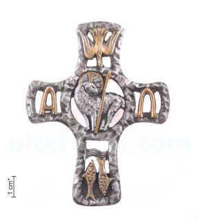 Σταυρός με χριστιανικά σύμβολα (τοίχο)
