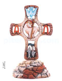 Крест c христианскими символами на Голгофе