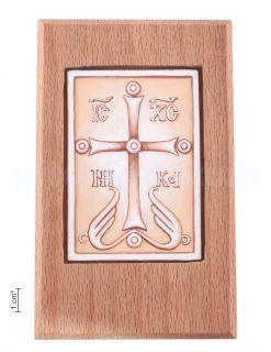 Плакетка «Крест - Спасение дому сему» в киоте