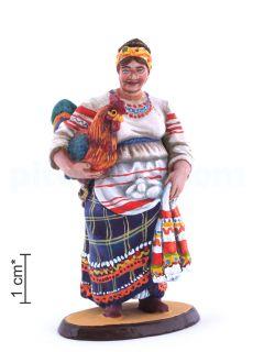 Русская женщина - казачка с петухом