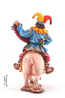 A buffoon with an accordion riding a pig