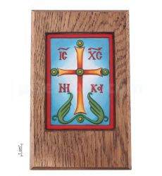 """Plaquette """"Cross - Salvation to this house"""" in an icon case"""