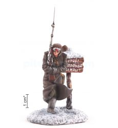 Soviet Red Army soldier at the post, winter 1942
